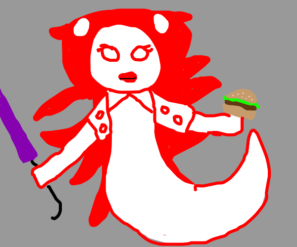 ghost with umbrella holding a cheeseburger
