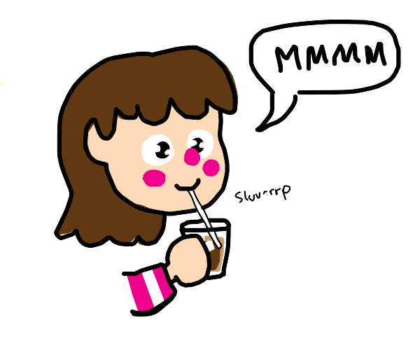 girl happily drinks brown iced drink