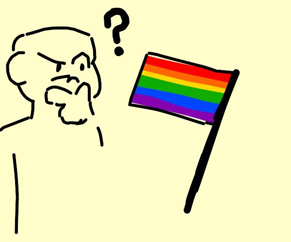 Man questioning pride flag