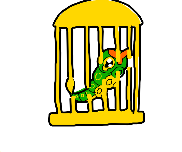 Caterpie in a bird cage