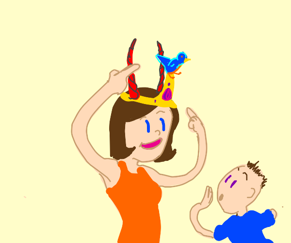 """""""Check out my tiara, it's got horns &a bird!"""""""