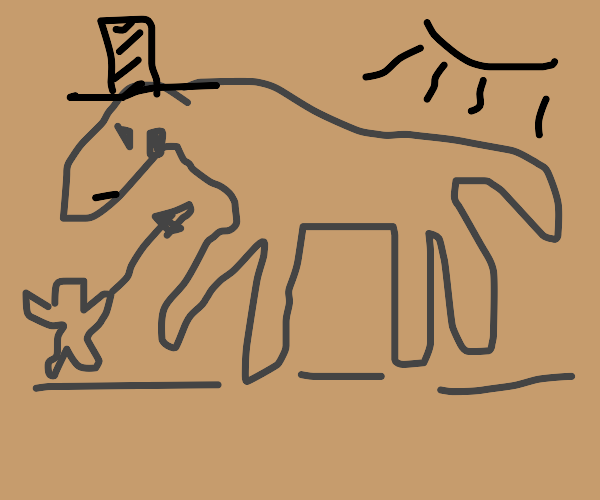 Cave painting with a top hat