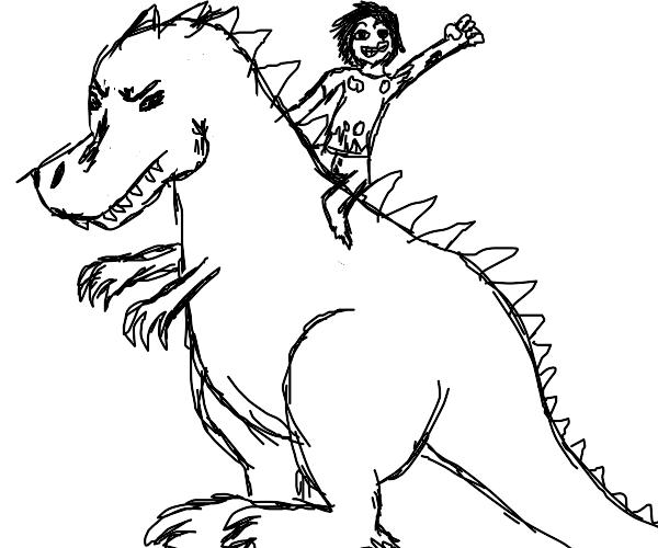 zombie riding a dinosaur