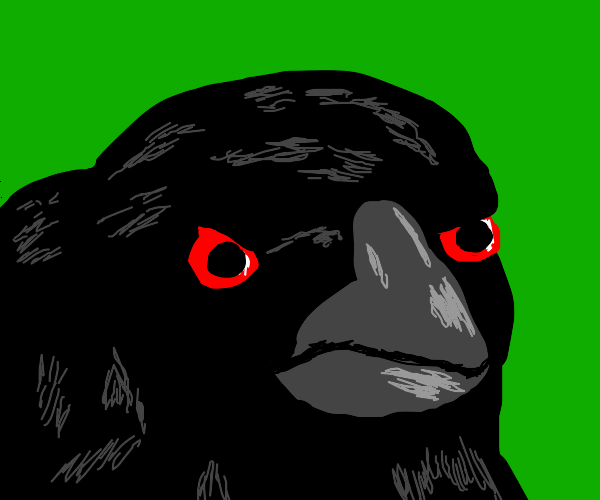 Crow, with a glowing red eye