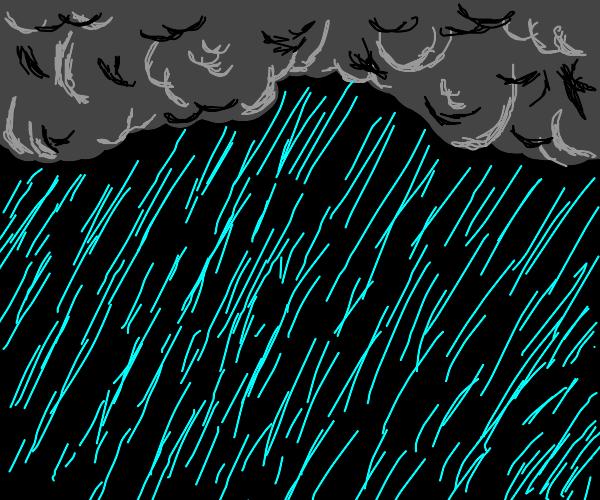 Dark Cloudy sky w/ rain