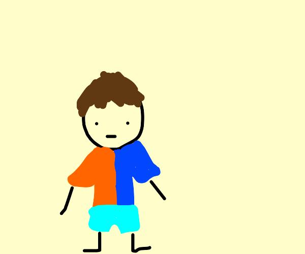 Boy with half blue and half orange shirt