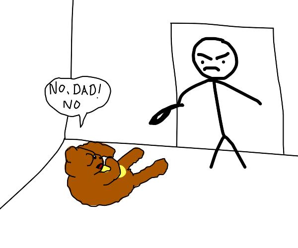 stick man abuses talking teddy-bear