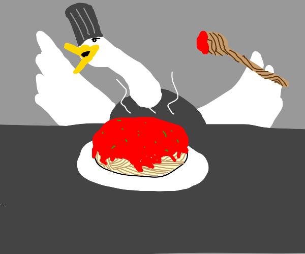 chef goose creates the perfect spaghetti