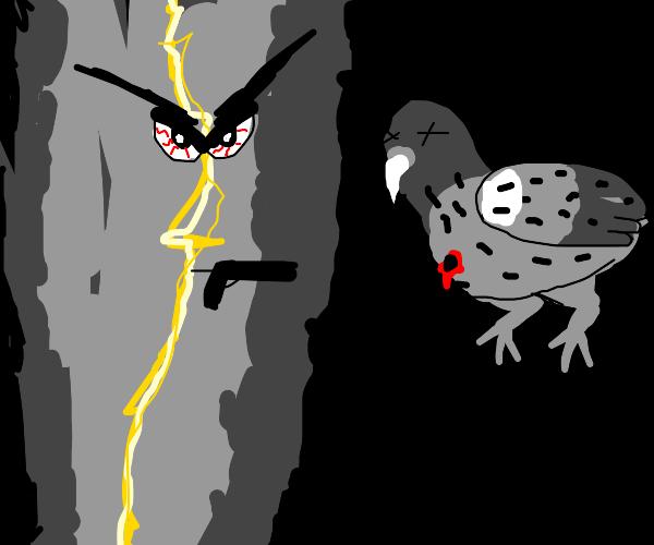 Angry Thunderbolt Shooting Pigeon