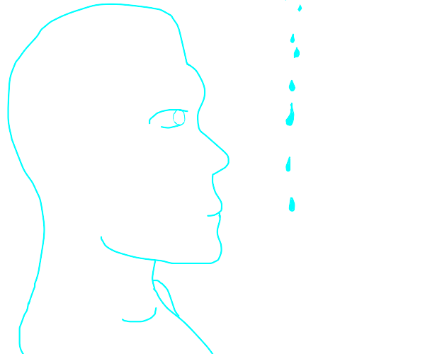 Transparent man looks at drops of water