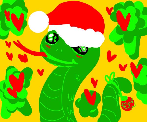 Cute snake wearing a santa hat