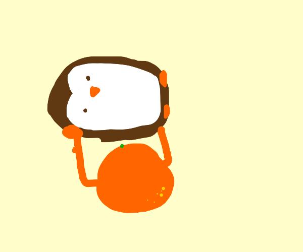 Orange holding Penguin