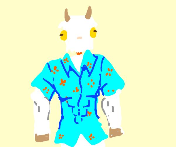 Buff goat in a hawaiian shirt