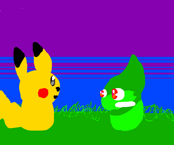 Pikachu & Axew sit together contentedly