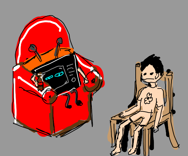 tv watching a guy sitting