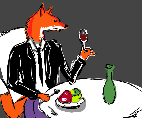 Well dressed fox eating a meal