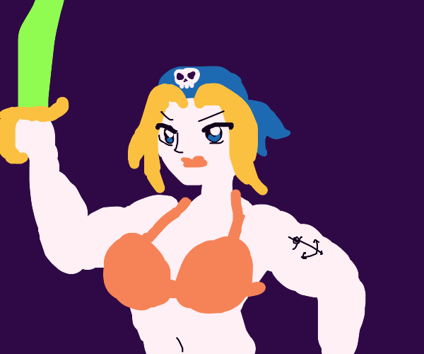 musclular anime pirate lady w/ big knockers