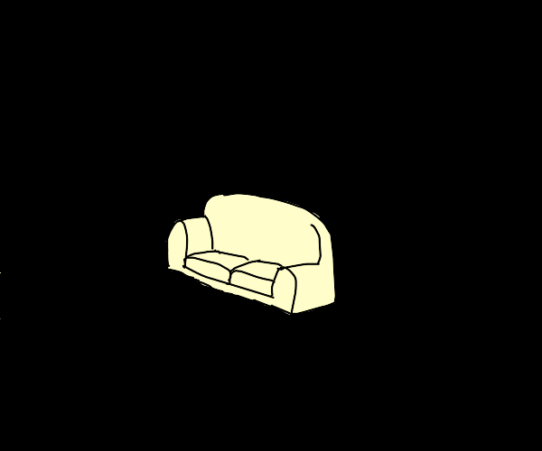 Couch in a void of emptiness