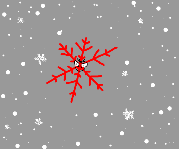 Evil red snowflake in a blizzard