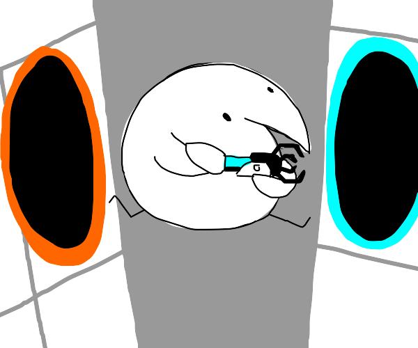 Bird entering a portal