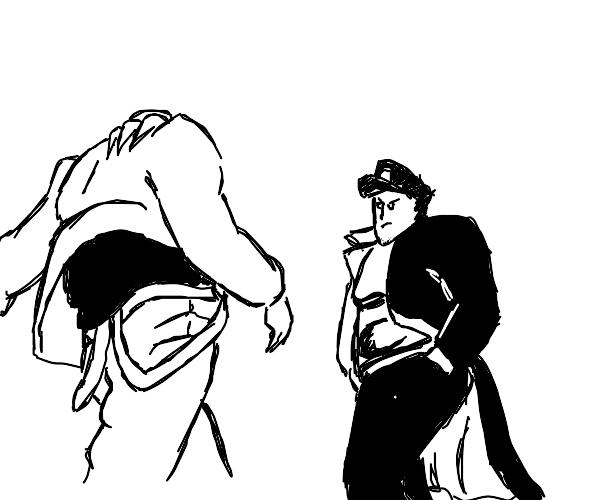 Jotaro approaching DIO