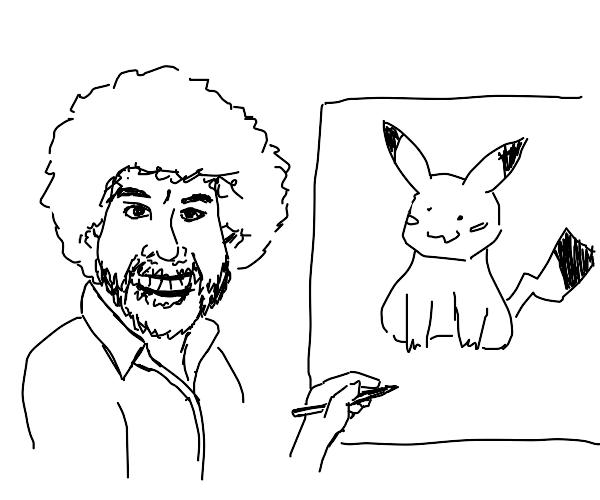 Bob Ross drawing Pikachu