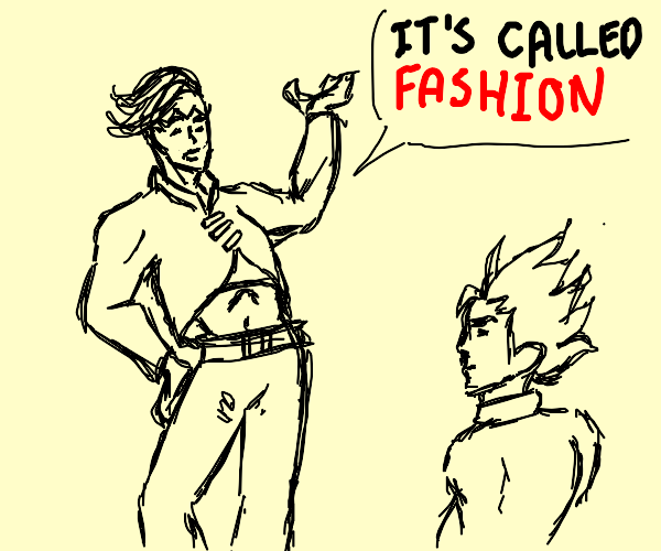 Rohan tells Koichi something about his clothe