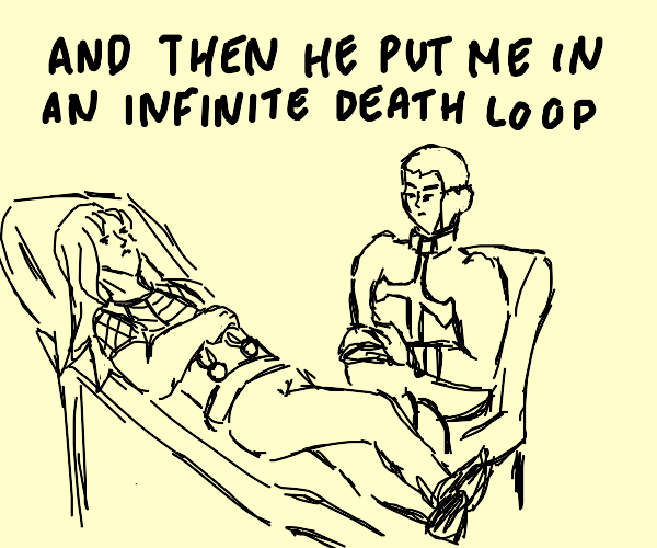 Diavolo attempting Puccis Therapy Sesion