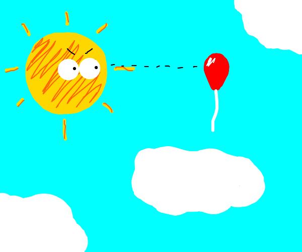 The Sun stares at a balloon