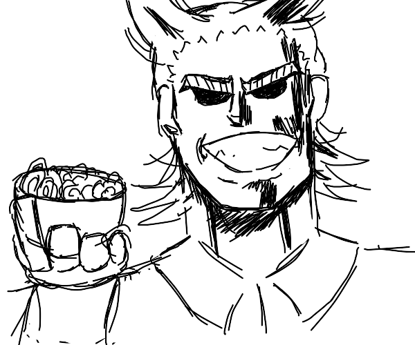 All might is eating pasta