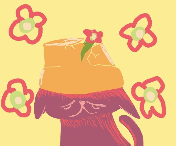 Sad cat with flower pot hat