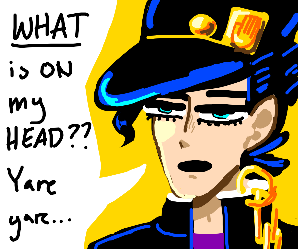 "Jotaro asks ""What is on my head?"""