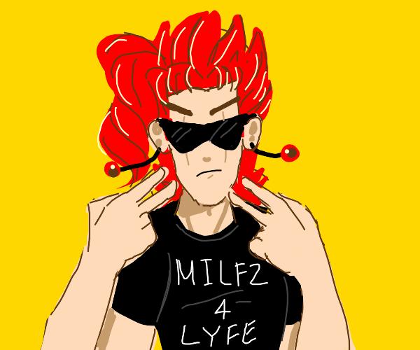 Kakyoin in a Milfz 4 Life shirt