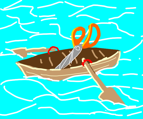 Scizzors in a rowboat