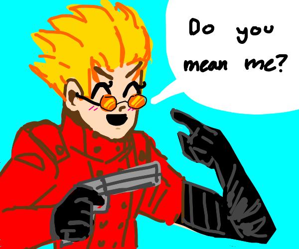 Gun man with goku hair