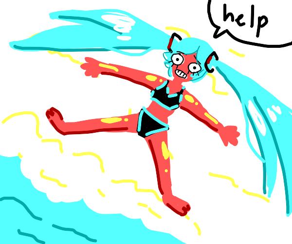 Hatsune Miku with a horrible sunburn