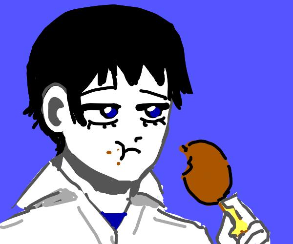 Depressed anime boy eating fried chicken.
