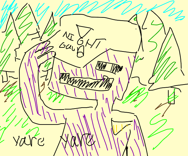 purple man says yare yare