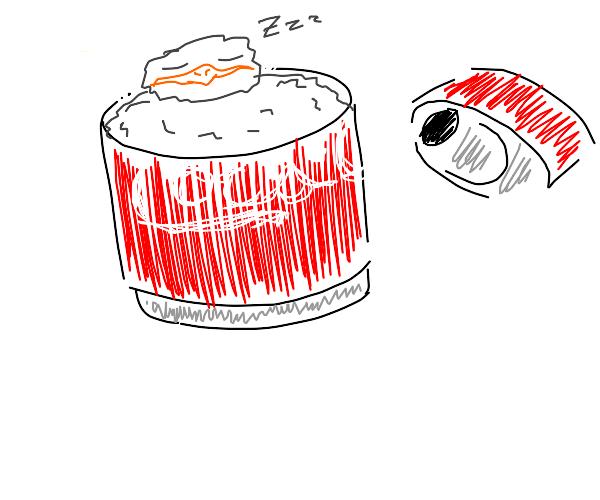 Tiny bird sleeping in can of Coke
