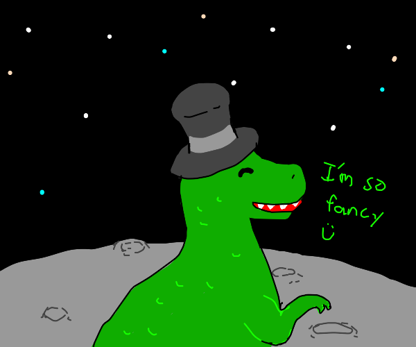 Dinosaur Alien with a top hat