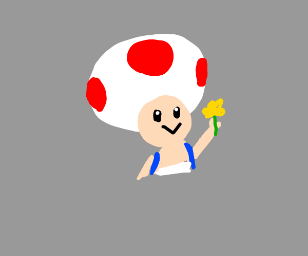 toad holding a daisy