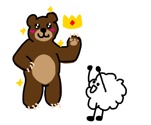 sexy bear giving a hat to a cotton ball