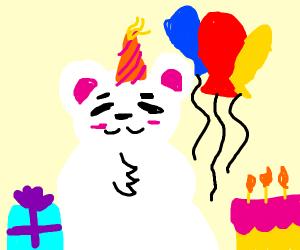 A polar bear celebrating its birthday