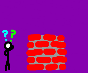 man confused by brick wall