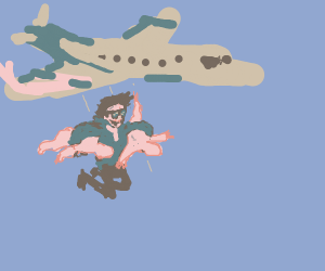 Cool man with two bodies jump out of plane