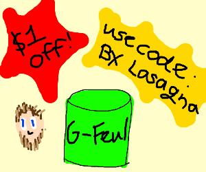 PEWDIEPIE 1$ off G fuel with code BX Lasanga