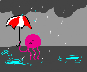 Sad jellyfish in the rain with an umbrella.