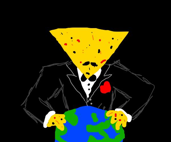 Dorito man holds the Earth