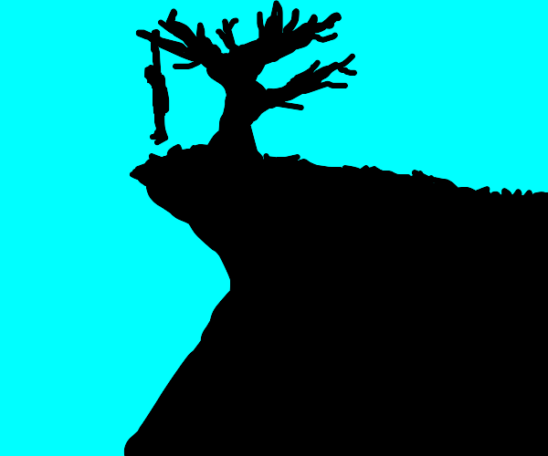 someone gets hanged on a cliff