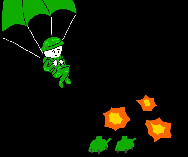 Parachuting into war